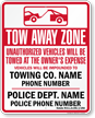 Custom Massachusetts Tow-Away Sign