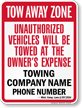Custom Michigan Tow-Away Sign