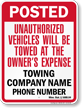 Custom Minnesota Tow-Away Sign
