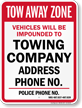 Custom Nevada Tow-Away Sign