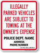Custom New Hampshire Tow-Away Sign