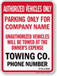Custom Oklahoma Tow-Away Sign