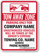 Custom South Dakota Tow-Away Sign