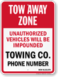 Custom Washington Tow-Away Sign