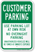 Customer Parking Park At Your Own Risk Sign