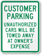 Customer Parking Unauthorized Cars Towed Sign