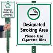 Designated Smoking Area Use Cigarette Bins Sign