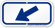 Downwards Left Arrow, Supplemental Parking Sign, Blue