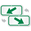 Downwards Left Arrow, Supplemental Parking Sign, Green
