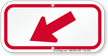 Downwards Left Arrow, Supplemental Parking Sign, Red