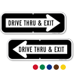 Drive Thru & Exit Directional Parking Sign