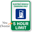 Electric Vehicle Charging Only Choose Hour Limit Sign