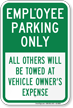 Employee Parking Only, All Others Towed Sign