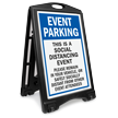 Event Parking Social Distancing Event Please Remain in Vehicle or Distant from Others BigBoss A-Frame Portable Sidewalk Sign