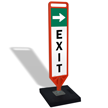 Exit With Arrow Flexpost Portable Paddle Sign Kit