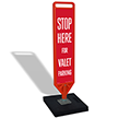 Stop Here for Valet Parking Paddle FlexPost