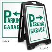 Garage Parking Directional Sidewalk Sign