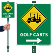 Golf Carts Sign with Right Arrow