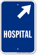 Hospital Diagonal Right Arrow Entrance Sign