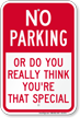 Humorous No Parking Sign