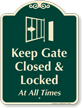 Keep Gate Closed and Locked Signature Sign