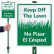 Bilingual Keep Off Grass LawnBoss® Sign & Stake Kit