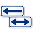 Left Arrow, Supplemental Parking Sign, Blue