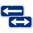 Left Arrow, Supplemental Parking Sign, Blue Reversed