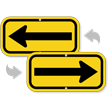 Left Arrow, Supplemental Sign, Black on Yellow