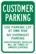 Lidl Customer Parking Sign