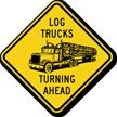 Log Trucks Turning Ahead Sign