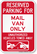 Reserved Parking For Mail Van Only Novelty Sign