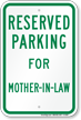 Novelty Parking Space Reserved For Mother-In-Law Sign