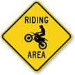 Motorcycle Crossing Sign, Riding Area with Graphic