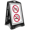 No Bicycle And Smoking Symbol Sidewalk Sign
