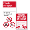 No Bicycles Private Property No Parking Sign