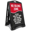 No Idling Zone Portable Sidewalk Sign
