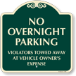No Overnight Parking Violators Vehicles Towed Away SignatureSign