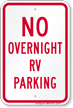 No Overnight RV Parking Sign