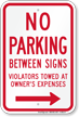 No Parking Between Signs (Right Arrow)