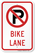 No Parking Bike Lane Sign with Graphic