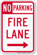 No Parking, Fire Lane At Right Sign