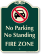 No Parking Or Standing, Fire Zone Sign
