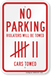 No Parking Violators Towed Sign