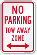 No Parking, Tow-Away Zone, Bidirectional Arrow Sign