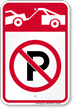 No Parking, Tow Away Zone Symbol Sign