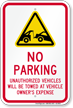 No parking, Unauthorized Vehicles Towed Sign