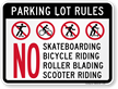Parking Lot Rules No Skateboarding Bicycle Riding Sign