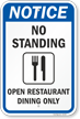 No Standing - Open Restuarant: Dining Only w/ Clipart