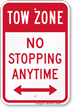 No Stopping Anytime Tow Zone Sign